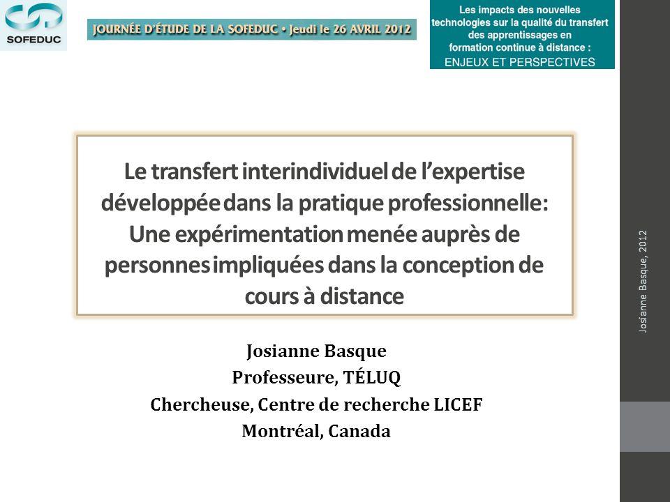Le transfert interindividuel de lexpertise développée dans la pratique professionnelle: Une expérimentation menée auprès de personnes impliquées dans