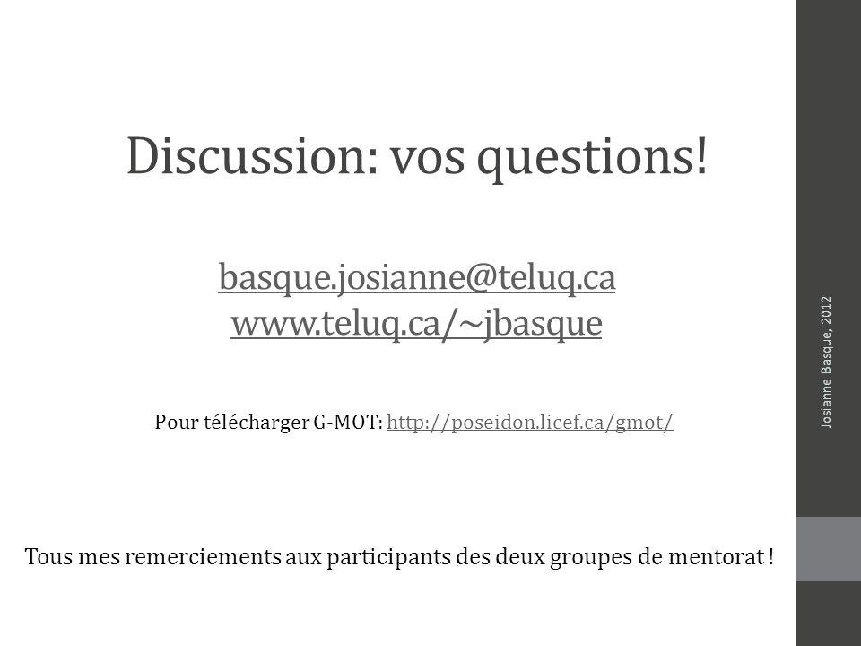 Discussion: vos questions! basque.josianne@teluq.ca www.teluq.ca/~jbasque basque.josianne@teluq.ca www.teluq.ca/~jbasque Josianne Basque, 2012 Tous me
