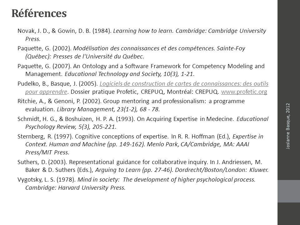 Références Novak, J. D., & Gowin, D. B. (1984). Learning how to learn. Cambridge: Cambridge University Press. Paquette, G. (2002). Modélisation des co