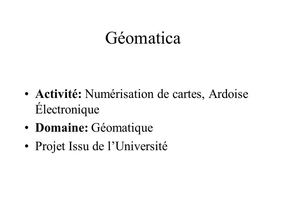 Géomatica Activité: Numérisation de cartes, Ardoise Électronique Domaine: Géomatique Projet Issu de lUniversité