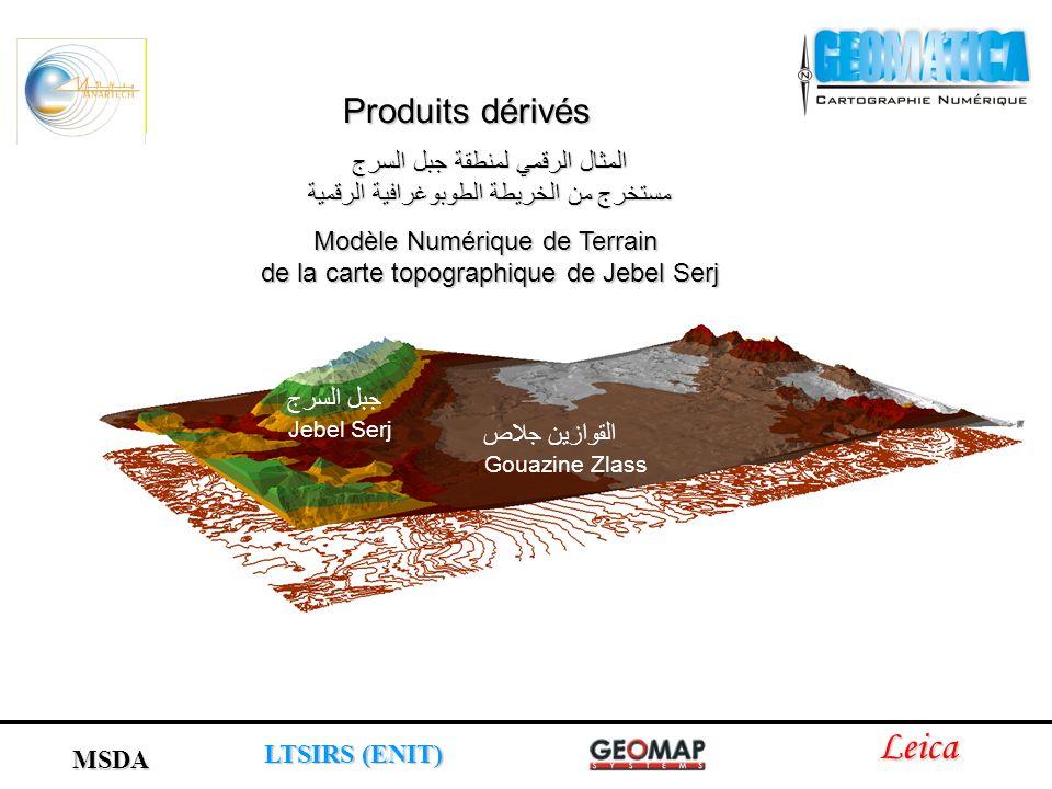 جبل السرج Jebel Serj القوازين جلاص Gouazine Zlass المثال الرقمي لمنطقة جبل السرج مستخرج من الخريطة الطوبوغرافية الرقمية Modèle Numérique de Terrain de