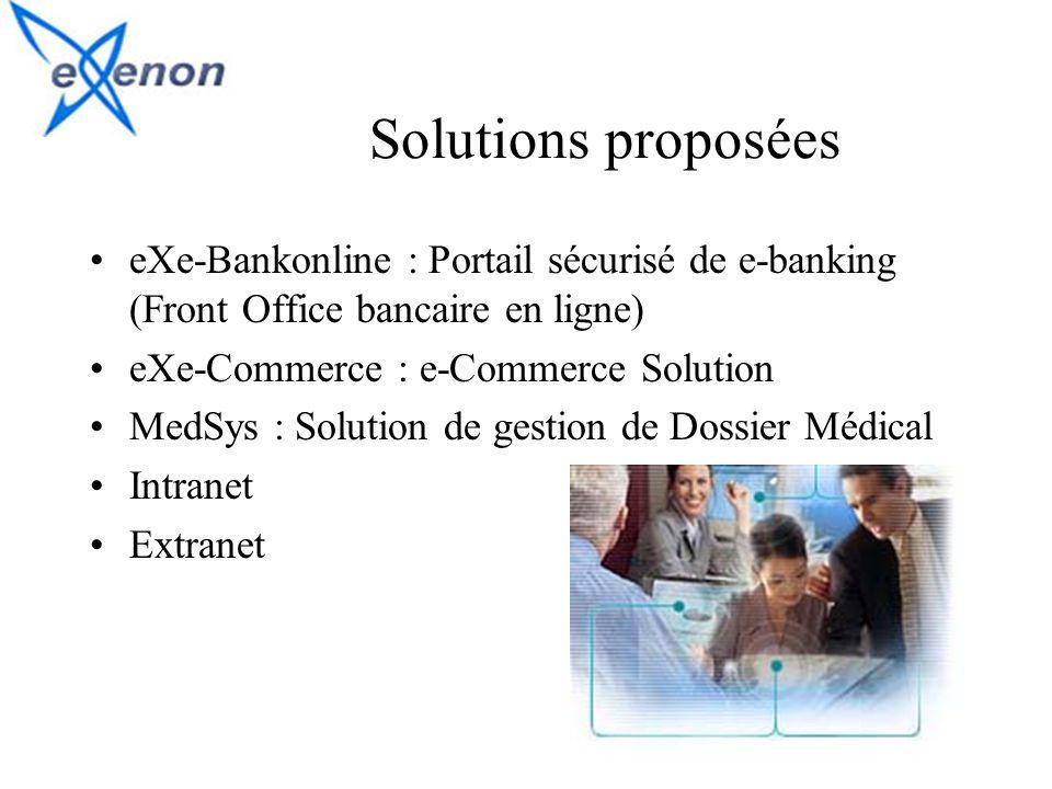Solutions proposées eXe-Bankonline : Portail sécurisé de e-banking (Front Office bancaire en ligne) eXe-Commerce : e-Commerce Solution MedSys : Soluti