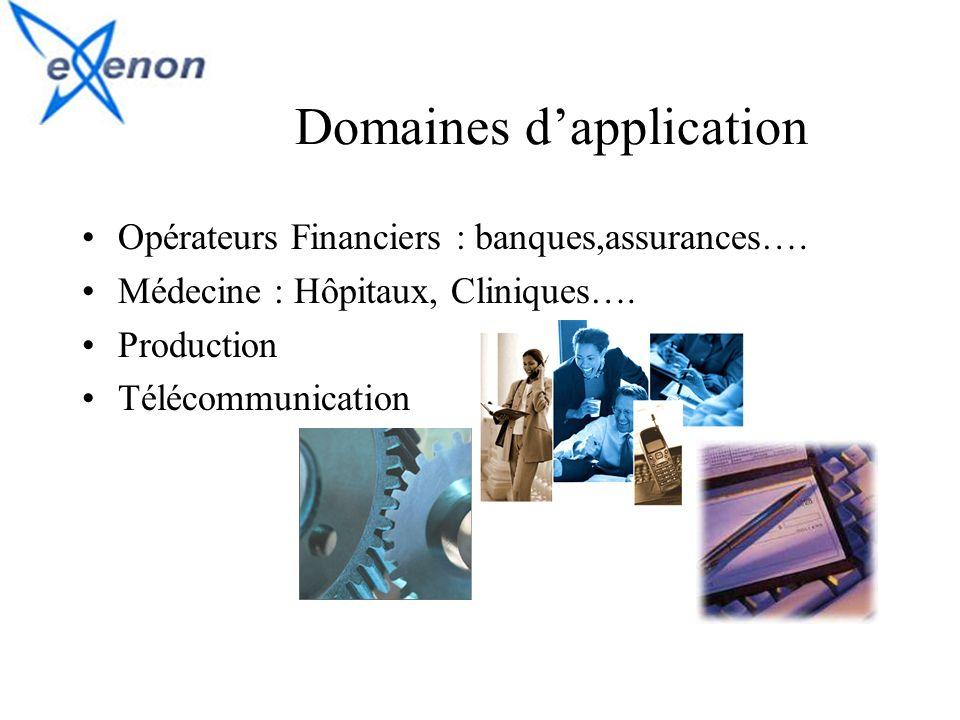 Domaines dapplication Opérateurs Financiers : banques,assurances…. Médecine : Hôpitaux, Cliniques…. Production Télécommunication