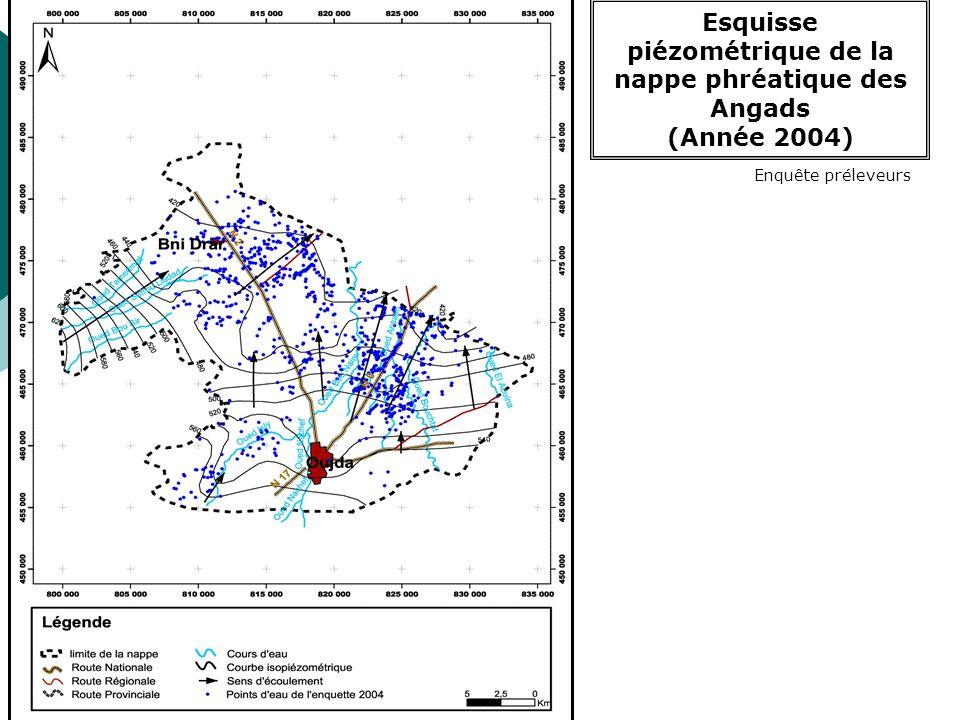 Esquisse piézométrique _ nappe Bouhria (2004) Enquête préleveurs