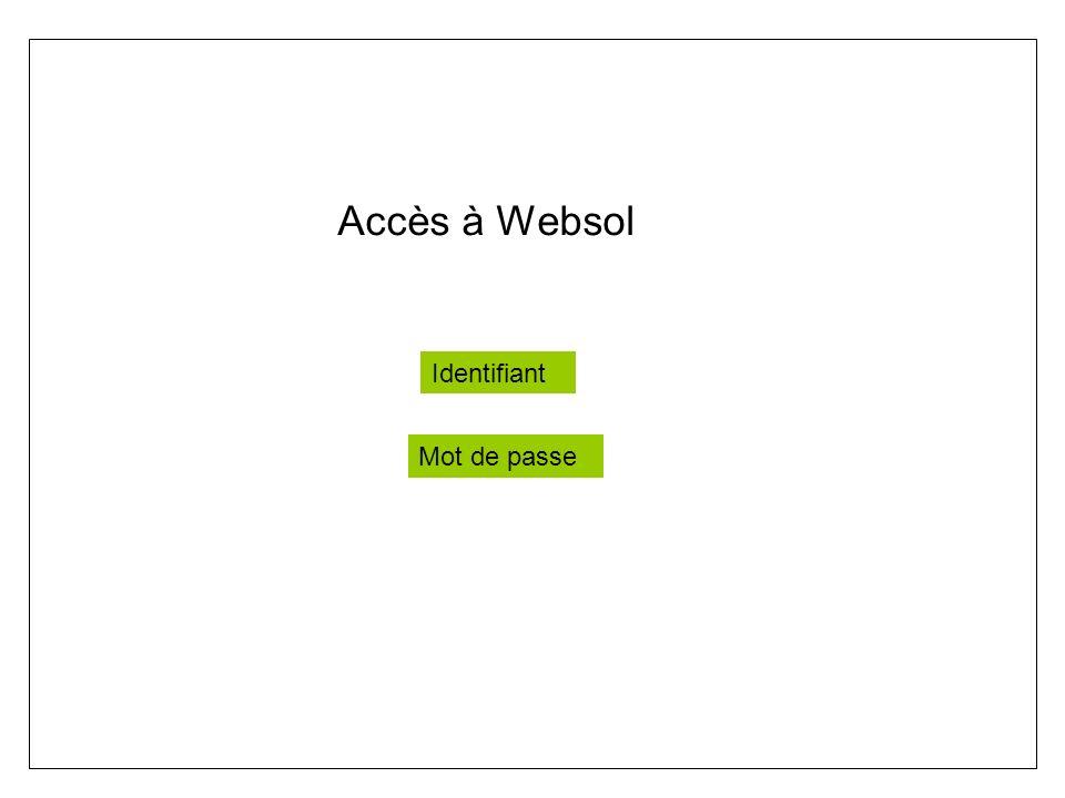 Accès à Websol Identifiant Mot de passe