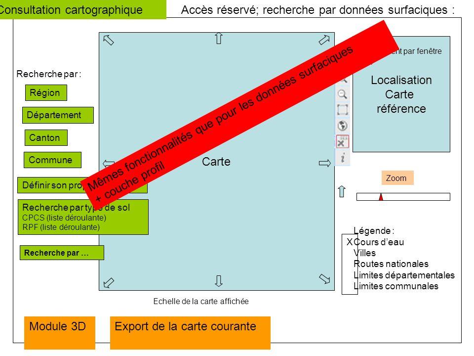 Carte Accès réservé; recherche par données surfaciques : Recherche par : Région Département Canton Commune Localisation Carte référence Zoom Module 3D Légende : Cours deau Villes Routes nationales Limites départementales Limites communales X Echelle de la carte affichée Déplacement par fenêtre (IRD) Définir son propre zonage Consultation cartographique Recherche par type de sol CPCS (liste déroulante) RPF (liste déroulante) Recherche par … Mêmes fonctionnalités que pour les données surfaciques + couche profil Export de la carte courante