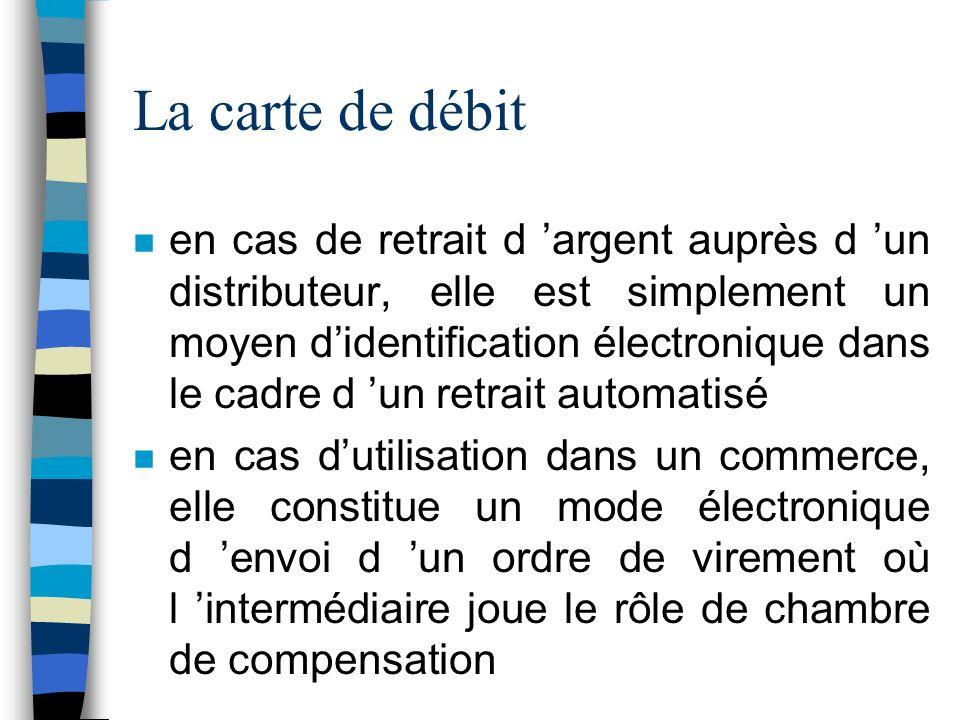 La carte de débit n en cas de retrait d argent auprès d un distributeur, elle est simplement un moyen didentification électronique dans le cadre d un