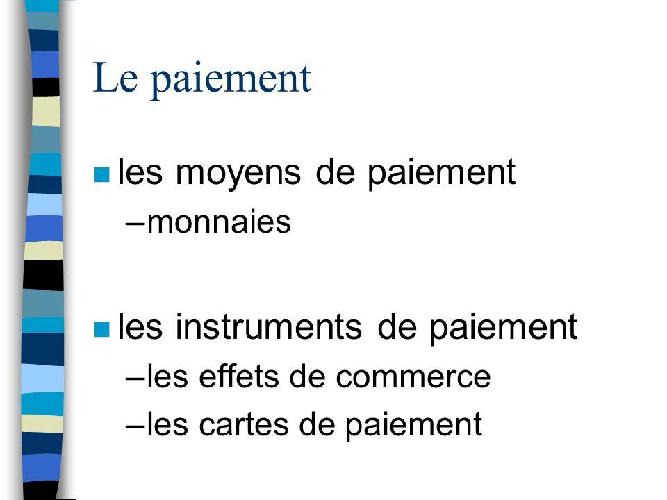 n les moyens de paiement –monnaies n les instruments de paiement –les effets de commerce –les cartes de paiement