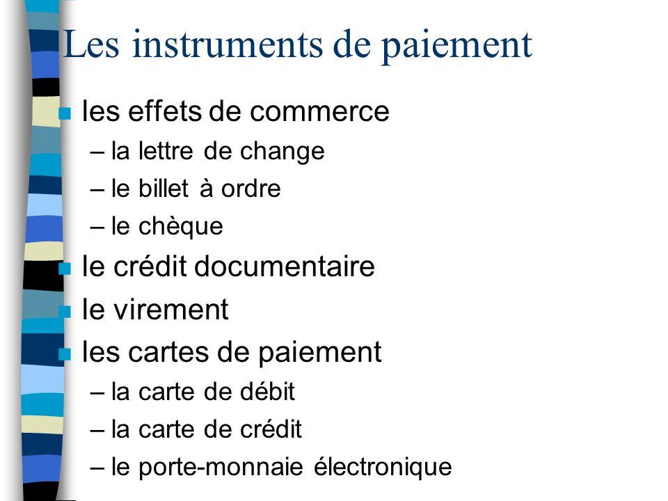 Les instruments de paiement n les effets de commerce –la lettre de change –le billet à ordre –le chèque n le crédit documentaire n le virement n les c