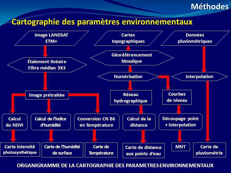 Cartographie des paramètres environnementaux Méthodes Image LANDSAT ETM+ Étalement linéaire Filtre médian 3X3 Calcul du NDVI Image prétraitée Calcul d