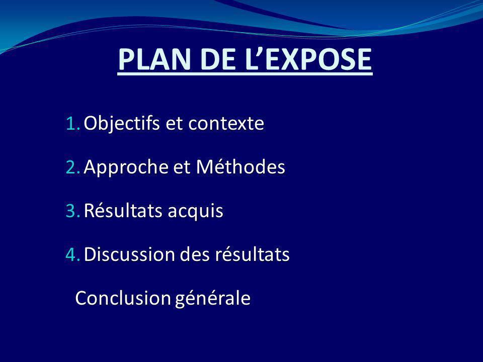 PLAN DE LEXPOSE 1. Objectifs et contexte 2. Approche et Méthodes 3. Résultats acquis 4. Discussion des résultats Conclusion générale