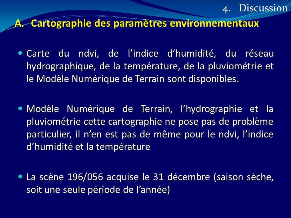 A.Cartographie des paramètres environnementaux Carte du ndvi, de lindice dhumidité, du réseau hydrographique, de la température, de la pluviométrie et
