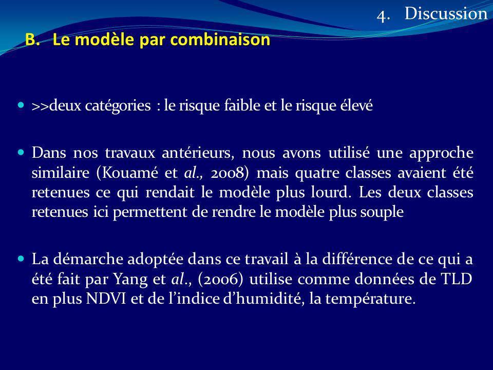 >>deux catégories : le risque faible et le risque élevé Dans nos travaux antérieurs, nous avons utilisé une approche similaire (Kouamé et al., 2008) m