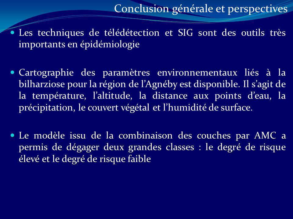 Les techniques de télédétection et SIG sont des outils très importants en épidémiologie Cartographie des paramètres environnementaux liés à la bilharz