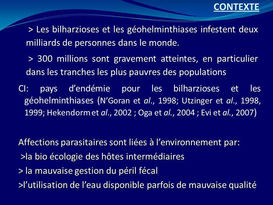 > Les bilharzioses et les géohelminthiases infestent deux milliards de personnes dans le monde. > 300 millions sont gravement atteintes, en particulie