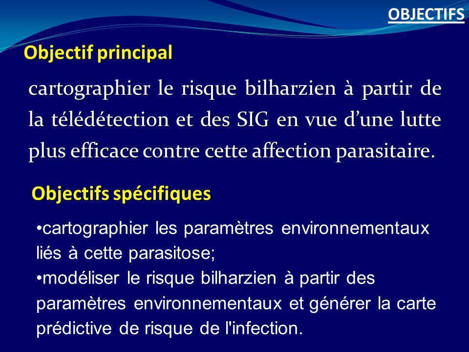 Objectif principal cartographier le risque bilharzien à partir de la télédétection et des SIG en vue dune lutte plus efficace contre cette affection p