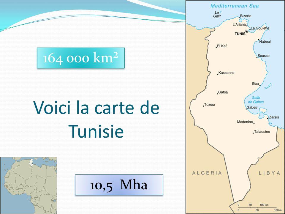 13 Voici la carte de Tunisie 164 000 km² 10,5 Mha