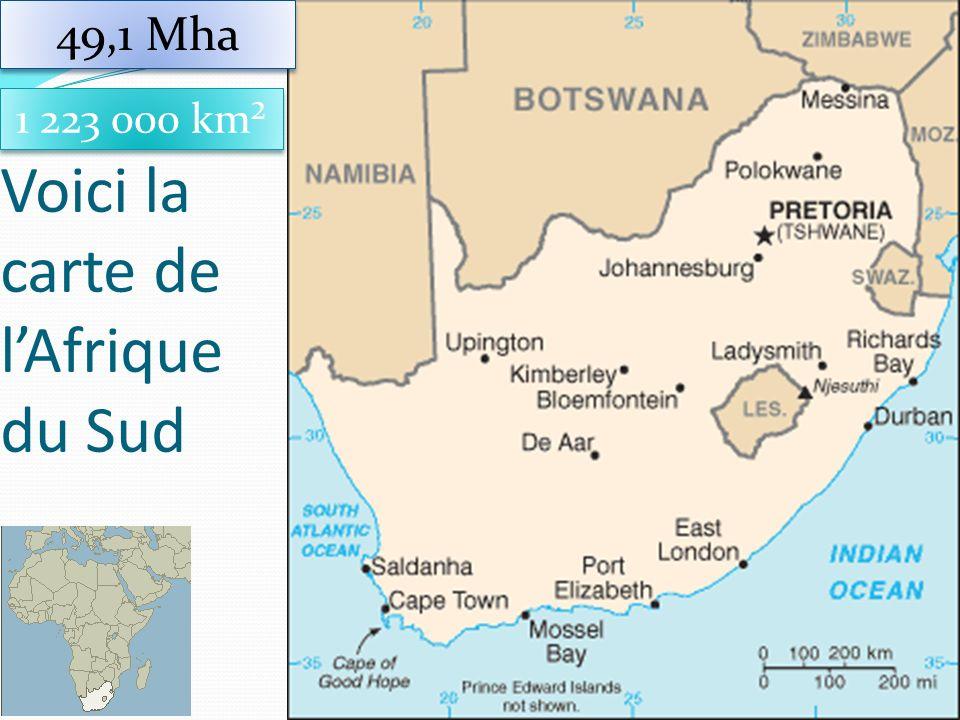 Voici la carte de lAfrique du Sud 21 1 223 000 km² 49,1 Mha