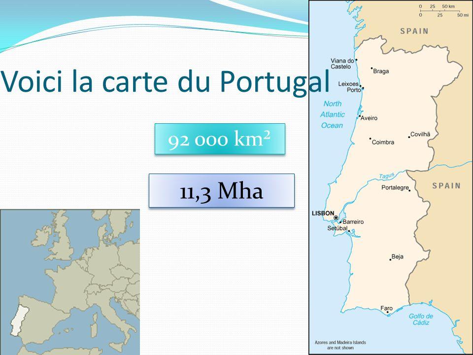 31 Voici la carte du Portugal 92 000 km² 11,3 Mha