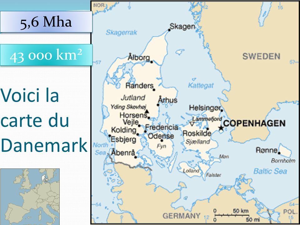 9 Voici la carte du Danemark 43 000 km² 5,6 Mha