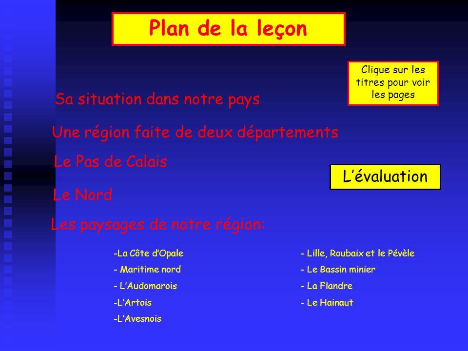 Plan de la leçon Une région faite de deux départements Le Pas de Calais Le Nord Les paysages de notre région: Sa situation dans notre pays -La Côte dO