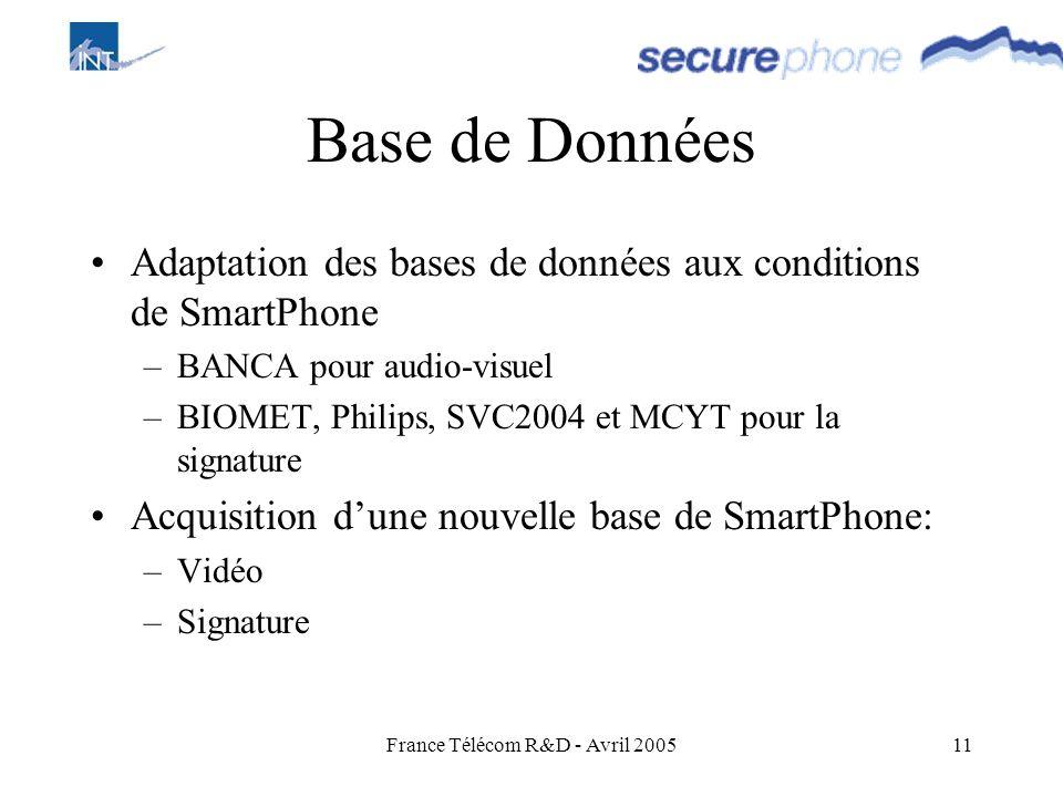 France Télécom R&D - Avril 200511 Base de Données Adaptation des bases de données aux conditions de SmartPhone –BANCA pour audio-visuel –BIOMET, Phili