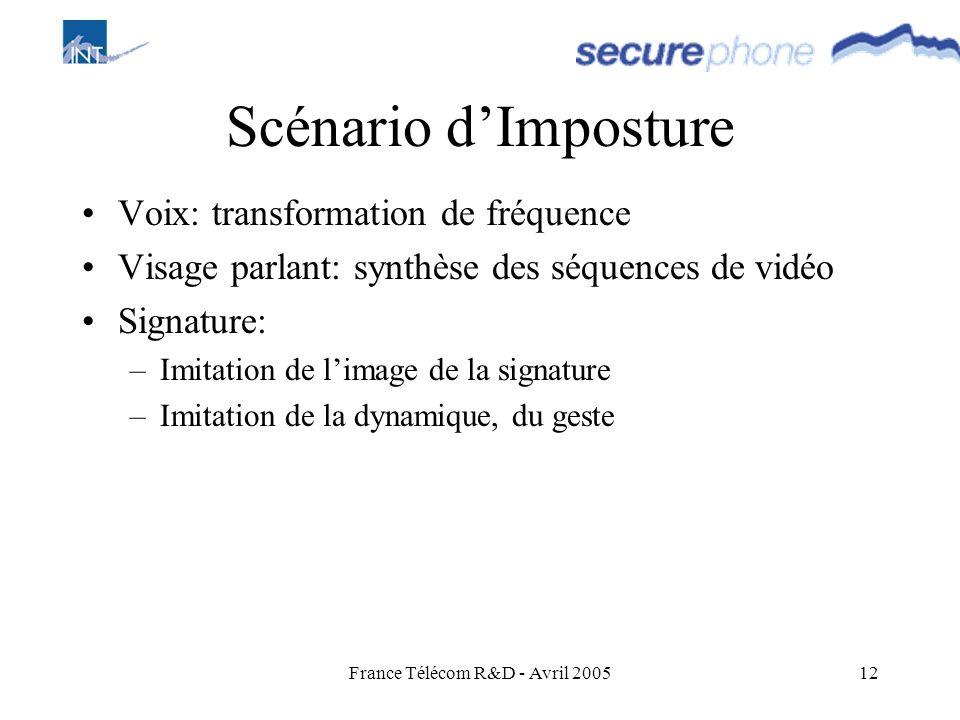 France Télécom R&D - Avril 200512 Scénario dImposture Voix: transformation de fréquence Visage parlant: synthèse des séquences de vidéo Signature: –Im