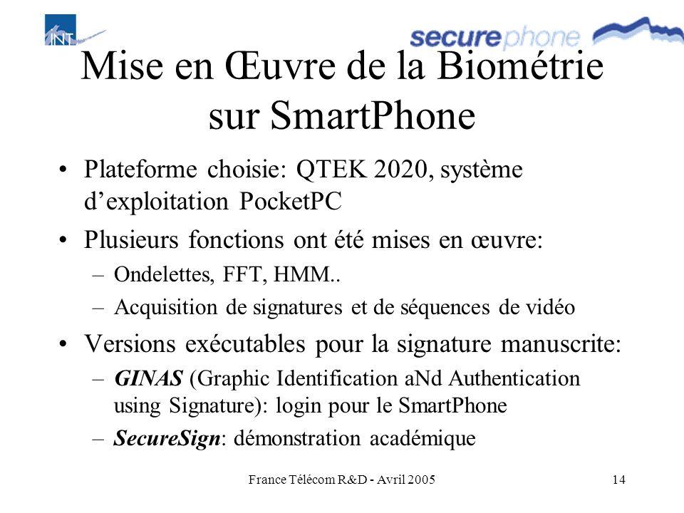 France Télécom R&D - Avril 200514 Mise en Œuvre de la Biométrie sur SmartPhone Plateforme choisie: QTEK 2020, système dexploitation PocketPC Plusieurs