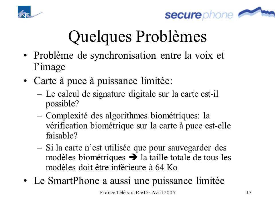 France Télécom R&D - Avril 200515 Quelques Problèmes Problème de synchronisation entre la voix et limage Carte à puce à puissance limitée: –Le calcul