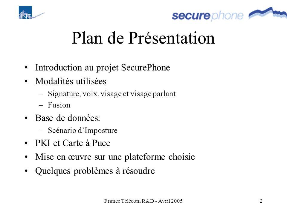 France Télécom R&D - Avril 20052 Plan de Présentation Introduction au projet SecurePhone Modalités utilisées –Signature, voix, visage et visage parlan