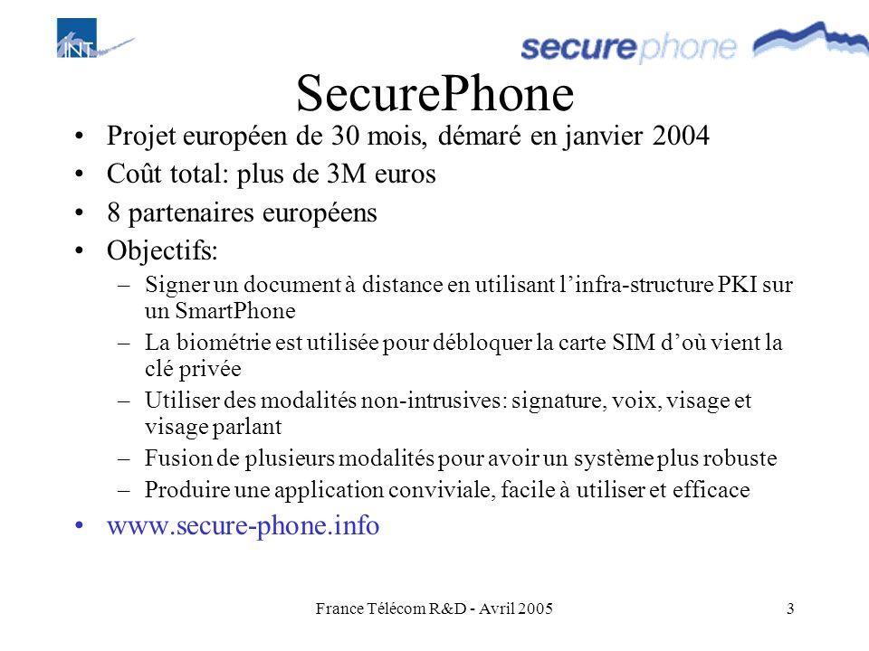 France Télécom R&D - Avril 20053 SecurePhone Projet européen de 30 mois, démaré en janvier 2004 Coût total: plus de 3M euros 8 partenaires européens O