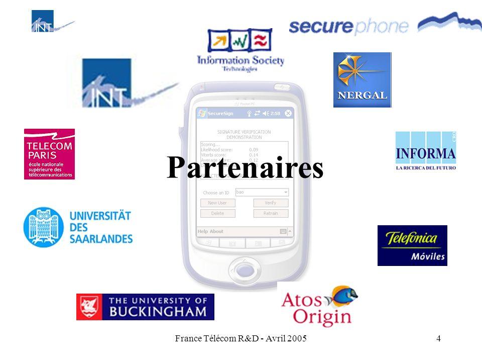 France Télécom R&D - Avril 20054 Partenaires