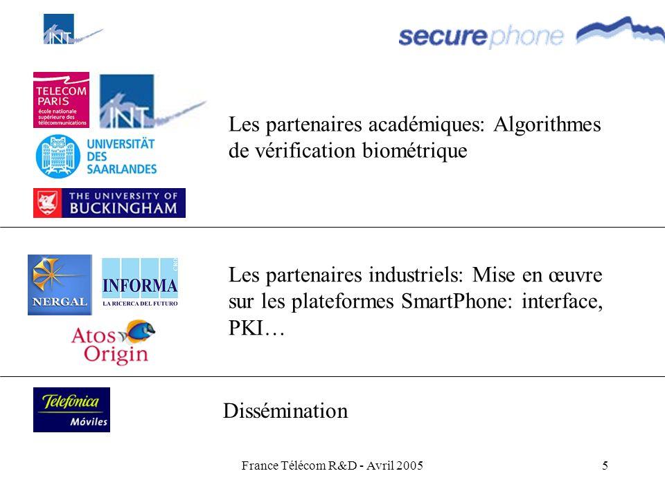 France Télécom R&D - Avril 20055 Les partenaires académiques: Algorithmes de vérification biométrique Les partenaires industriels: Mise en œuvre sur l