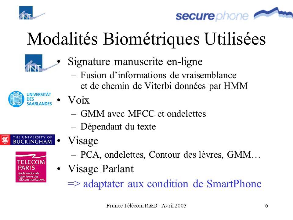 France Télécom R&D - Avril 20056 Modalités Biométriques Utilisées Signature manuscrite en-ligne –Fusion dinformations de vraisemblance et de chemin de