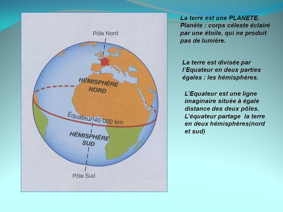 La terre est une PLANETE. Planète : corps céleste éclairé par une étoile, qui ne produit pas de lumière. La terre est divisée par lEquateur en deux pa