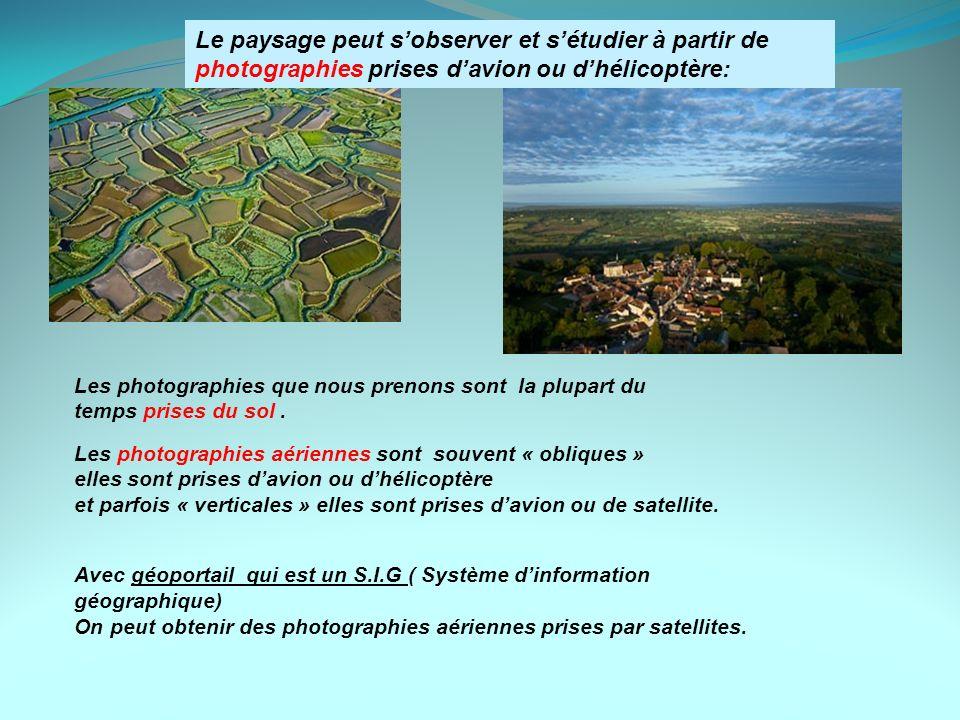 Le paysage peut sobserver et sétudier à partir de photographies prises davion ou dhélicoptère: Les photographies aériennes sont souvent « obliques » e