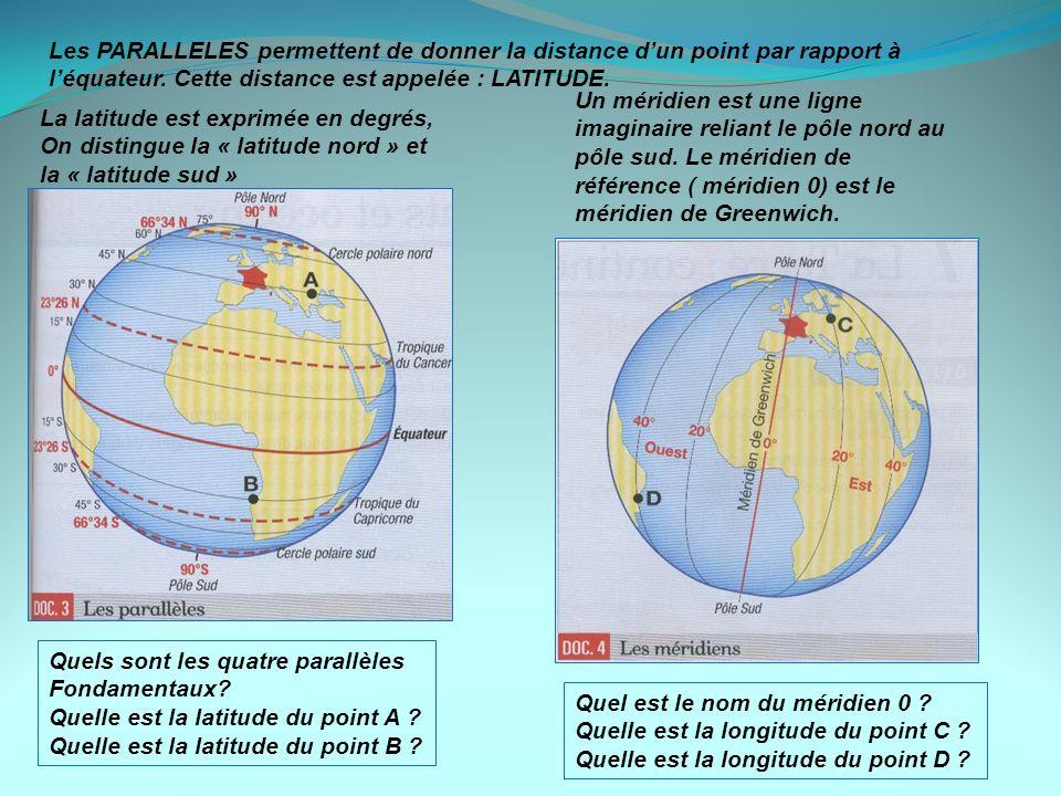 Quels sont les quatre parallèles Fondamentaux? Quelle est la latitude du point A ? Quelle est la latitude du point B ? Quel est le nom du méridien 0 ?