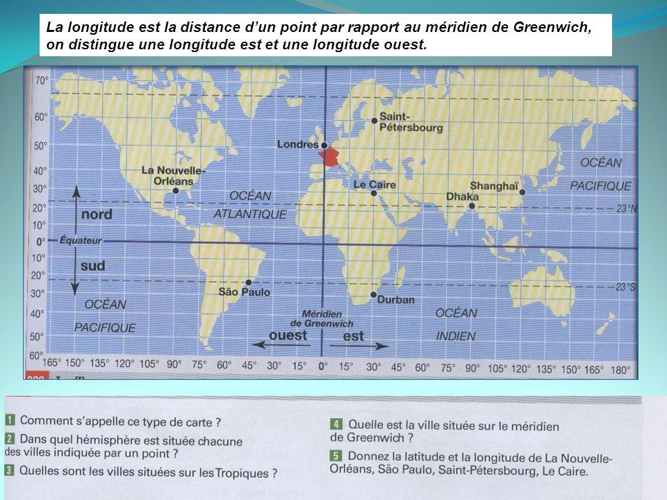 La longitude est la distance dun point par rapport au méridien de Greenwich, on distingue une longitude est et une longitude ouest.