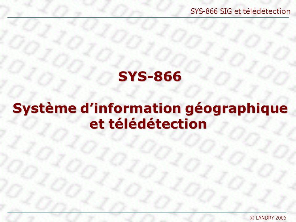 SYS-866 SIG et télédétection © LANDRY 2005 Géoréférence Coordonnées géographiques La longitude (λ) varie de –180°(W) à +180°(E) relativement à Greenwich –Un méridien est de longitude constante La latitude (φ) varie de de –90°(S) à +90 °(N) relativement à léquateur –Un parallèle est de latitude constante Géoréférence numérique Source : Thériault 1996 grand cercle petit cercle
