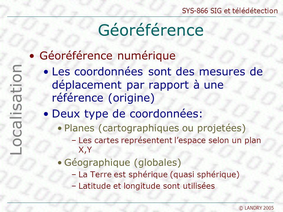 SYS-866 SIG et télédétection © LANDRY 2005 Géoréférence Géoréférence numérique Les coordonnées sont des mesures de déplacement par rapport à une référence (origine) Deux type de coordonnées: Planes (cartographiques ou projetées) –Les cartes représentent lespace selon un plan X,Y Géographique (globales) –La Terre est sphérique (quasi sphérique) –Latitude et longitude sont utilisées Localisation