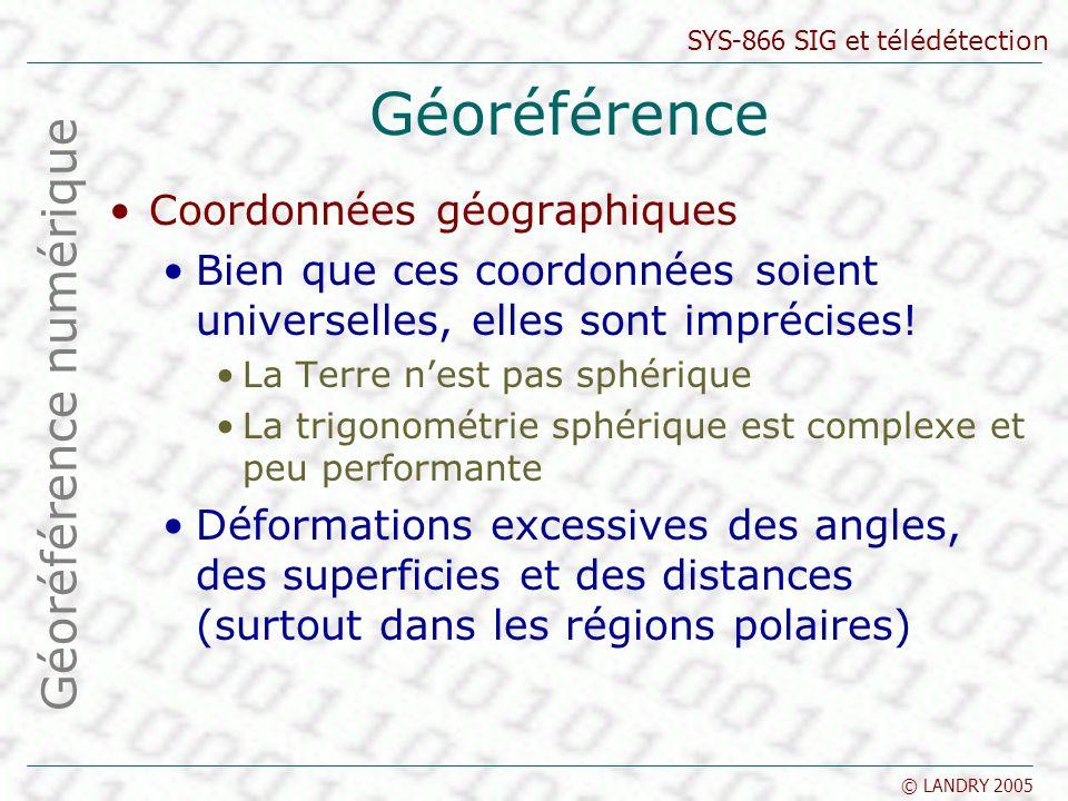 SYS-866 SIG et télédétection © LANDRY 2005 Géoréférence Coordonnées géographiques Bien que ces coordonnées soient universelles, elles sont imprécises.