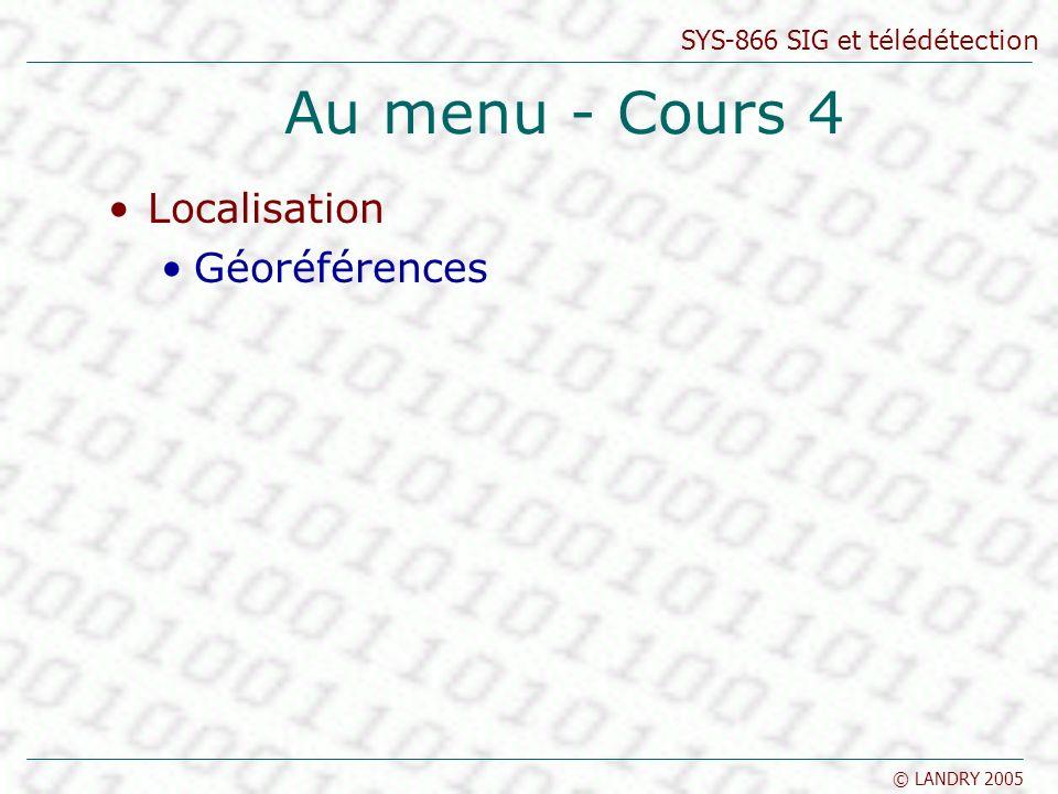 SYS-866 SIG et télédétection © LANDRY 2005 Localisation Un projet de SIG doit utiliser un système adapté pour préciser la localisation des entités : géoréférence Exemple de géoréférence: Adresse civique Code Postal Coordonnée de la grille cadastrale Coordonnée géomatique Localisation