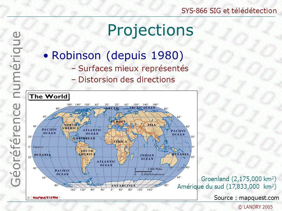 SYS-866 SIG et télédétection © LANDRY 2005 Projections Robinson (depuis 1980) –Surfaces mieux représentés –Distorsion des directions Géoréférence numérique Source : mapquest.com Groenland (2,175,000 km 2 ) Amérique du sud (17,833,000 km 2 )