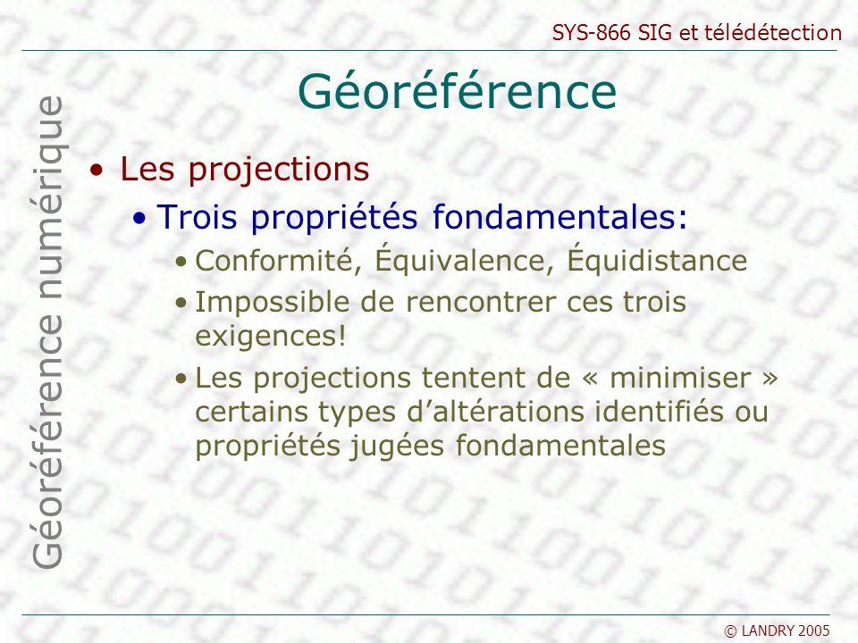 SYS-866 SIG et télédétection © LANDRY 2005 Géoréférence Les projections Trois propriétés fondamentales: Conformité, Équivalence, Équidistance Impossible de rencontrer ces trois exigences.