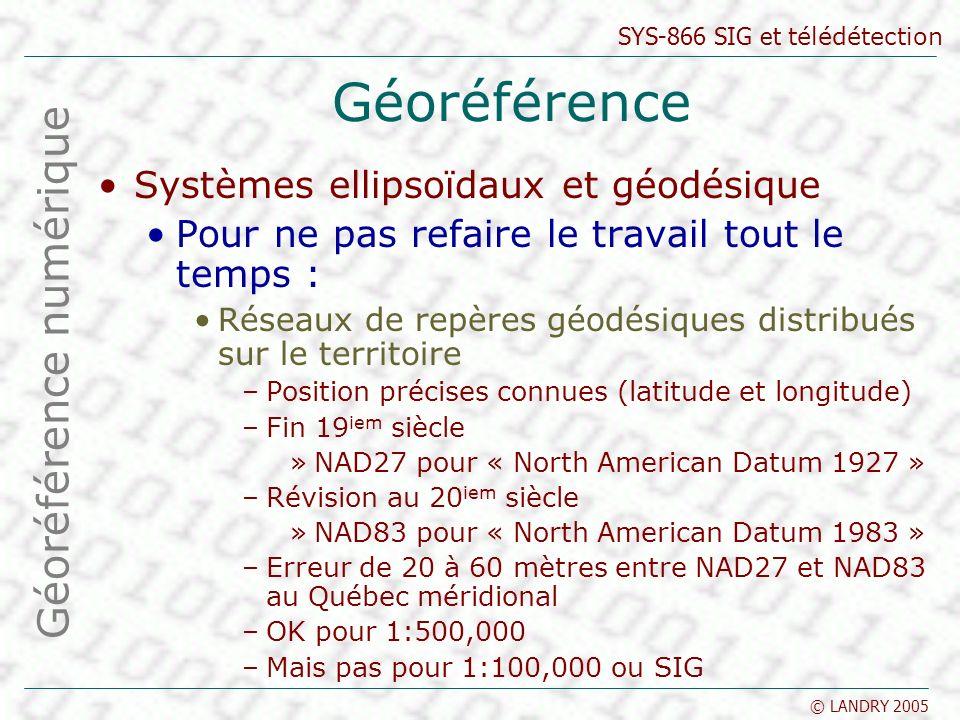 SYS-866 SIG et télédétection © LANDRY 2005 Géoréférence Systèmes ellipsoïdaux et géodésique Pour ne pas refaire le travail tout le temps : Réseaux de repères géodésiques distribués sur le territoire –Position précises connues (latitude et longitude) –Fin 19 iem siècle »NAD27 pour « North American Datum 1927 » –Révision au 20 iem siècle »NAD83 pour « North American Datum 1983 » –Erreur de 20 à 60 mètres entre NAD27 et NAD83 au Québec méridional –OK pour 1:500,000 –Mais pas pour 1:100,000 ou SIG Géoréférence numérique
