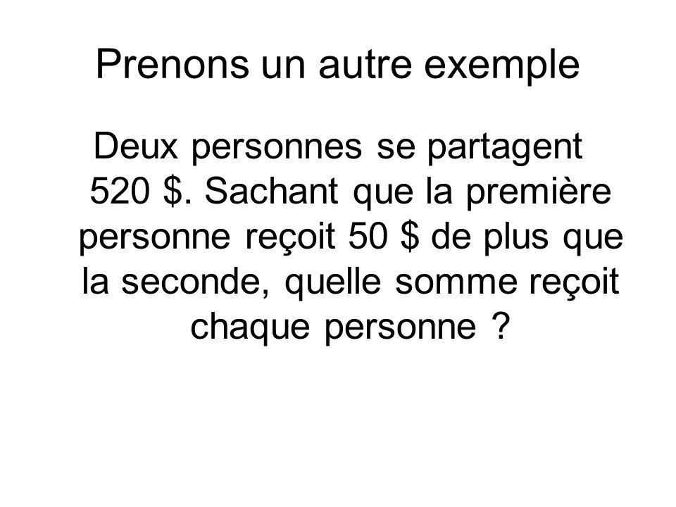 Prenons un autre exemple Deux personnes se partagent 520 $.