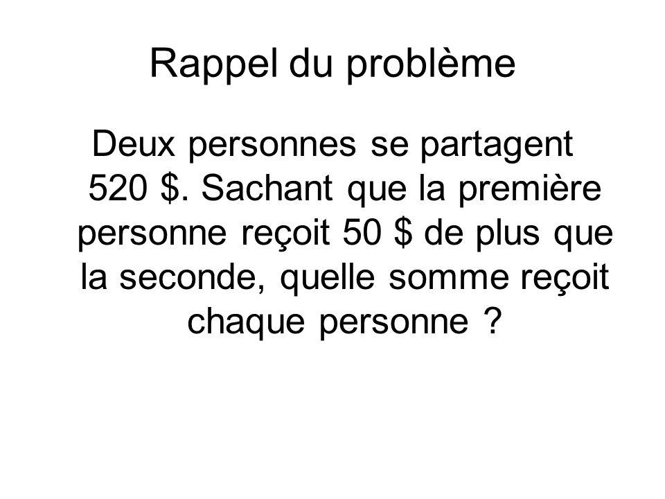 Rappel du problème Deux personnes se partagent 520 $.