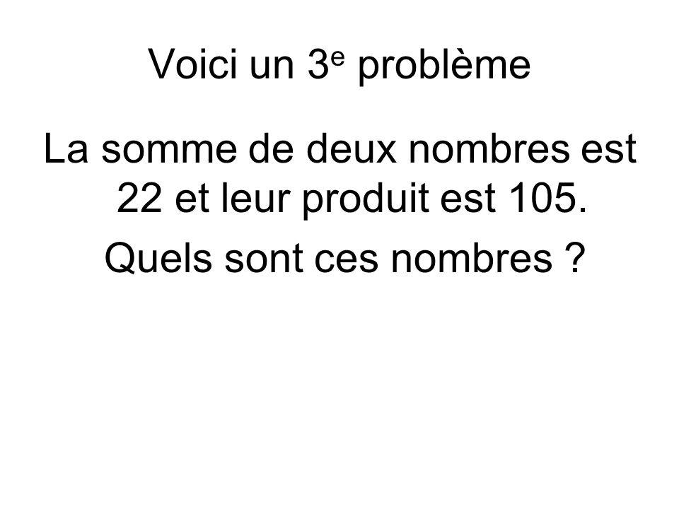 Voici un 3 e problème La somme de deux nombres est 22 et leur produit est 105.