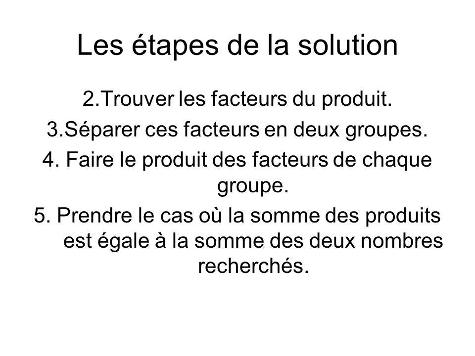 Les étapes de la solution 2.Trouver les facteurs du produit.