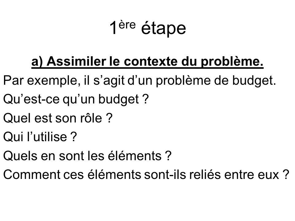 1 ère étape a) Assimiler le contexte du problème. Par exemple, il sagit dun problème de budget.
